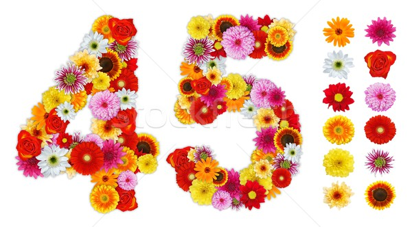 Numbers 4 and 5 made of various flowers Stock photo © erierika