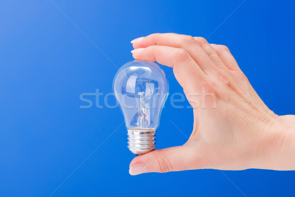 Hand holding a incandescent light bulb Stock photo © erierika
