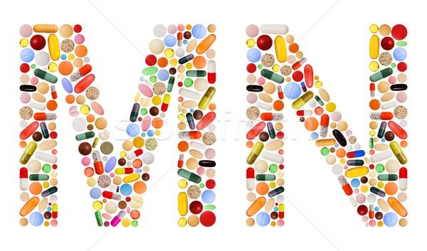 Betűk színes tabletták különböző kapszulák terv Stock fotó © erierika