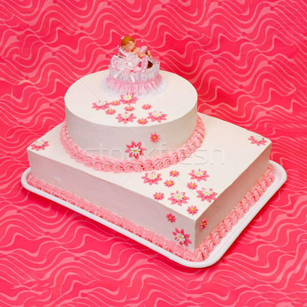 Christening cake for girl on pink background Stock photo © erierika
