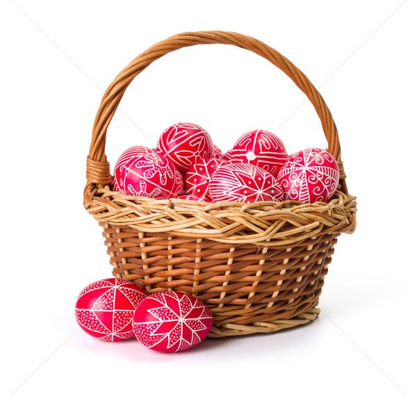 Tradicional mão escrito ovos cesta Foto stock © erierika
