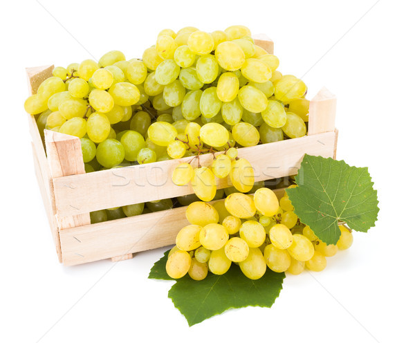White table grapes (Vitis) in wooden crate Stock photo © erierika