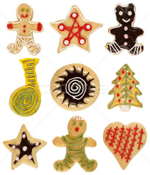 Karácsony süti gyűjtemény különböző kézzel készített díszített Stock fotó © erierika