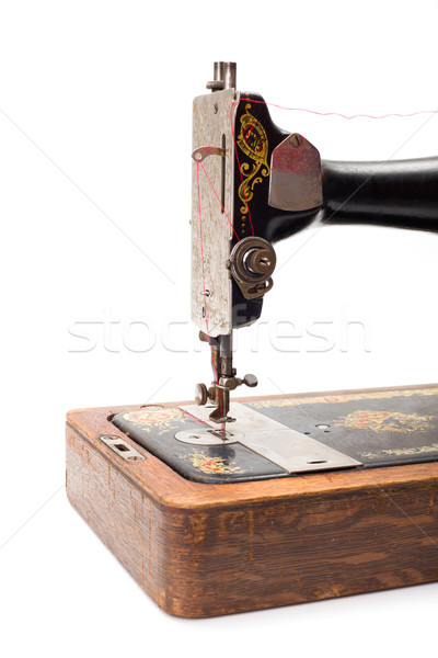 Close view of an old hand driven sewing machine Stock photo © erierika