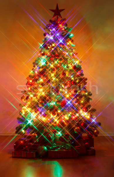 Christmas tree shot with cross screen filter Stock photo © erierika