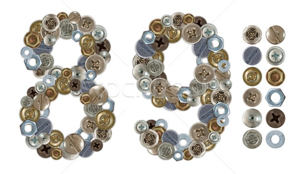 Numbers 8 and 9 made of various screw heads Stock photo © erierika