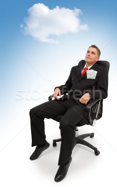 álmodik égbolt fiatal üzletember ül szék Stock fotó © erierika