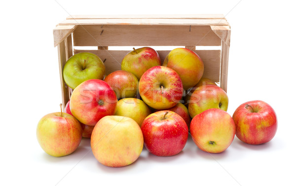 Ripe apples in wooden crate Stock photo © erierika