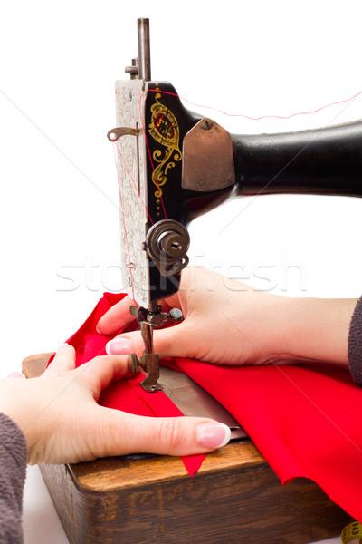 старые швейные машины женщину стороны древесины работу Сток-фото © erierika