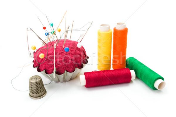 Vingerhoed naalden kleurrijk tools kleuren pin Stockfoto © erierika