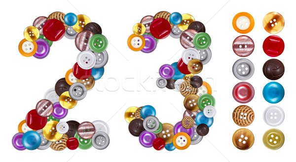 Numbers 2 and 3 made of clothing buttons Stock photo © erierika