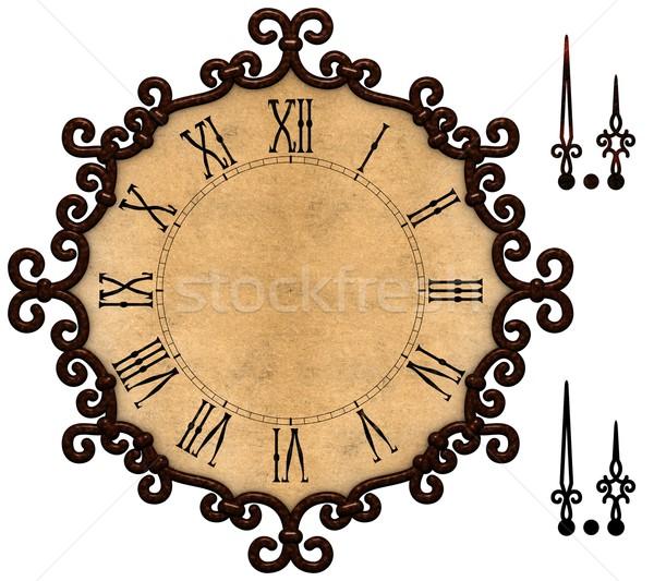 Velho relógio estilo metálico quadro antiquado Foto stock © erierika