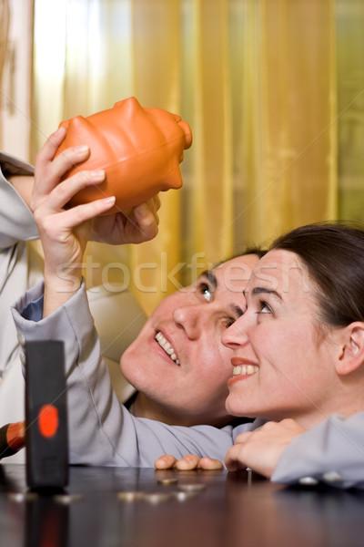 Esperança olhando dinheiro piggy bank quebrar Foto stock © erierika
