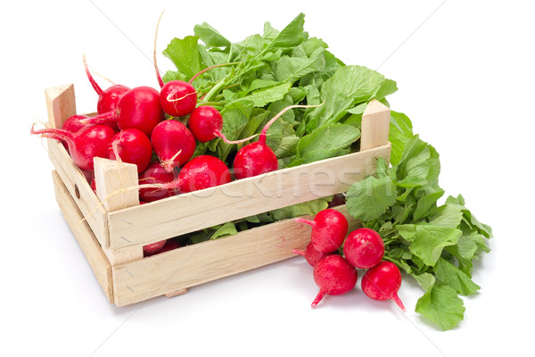 świeże czerwony rzodkiewka skrzynia żywności Zdjęcia stock © erierika