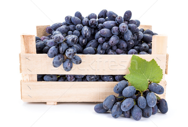 Red table grapes (Vitis) in wooden crate Stock photo © erierika