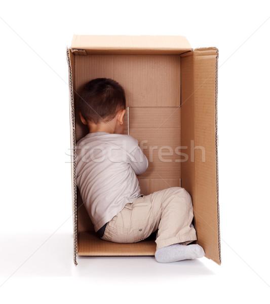 Kicsi fiú rejtőzködik kartondoboz játszik kukucs Stock fotó © erierika