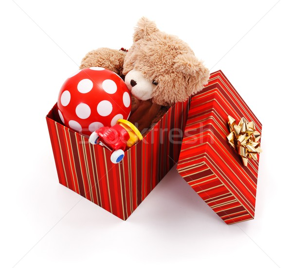 Big gift box full of toys Stock photo © erierika