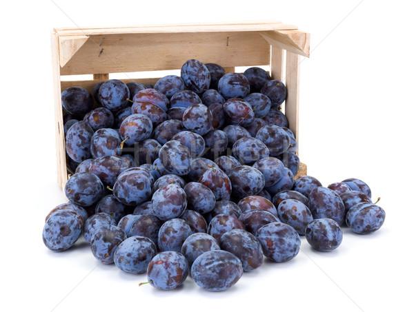 Plums (Prunus) in wooden crate Stock photo © erierika