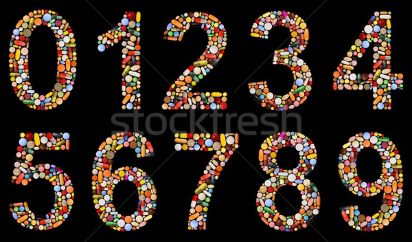 Numbers 0 to 9 made of assorted pills Stock photo © erierika