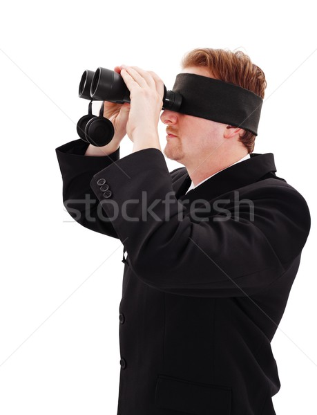 Blindfold bussiness man looking for job Stock photo © erierika