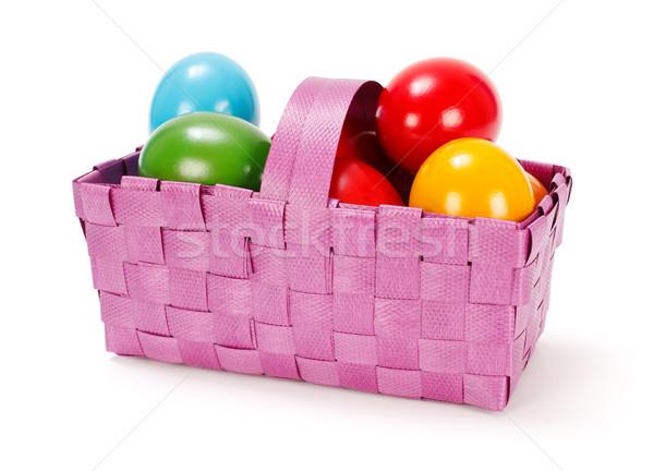 Huevos de Pascua púrpura cesta colorido pintado Foto stock © erierika