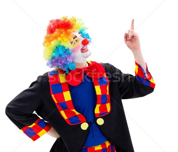 Happy clown pointing upward Stock photo © erierika