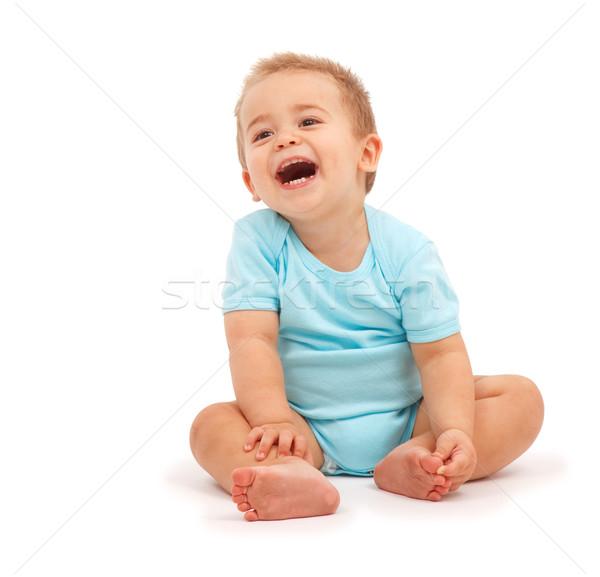 Photo stock: Rire · bébé · heureux · garçon · séance · bleu