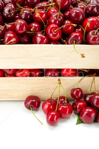 Macro of sweet cherries (Prunus avium) in wooden crate Stock photo © erierika