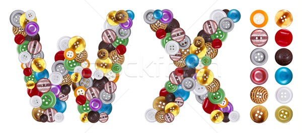 Characters W and X made of clothing buttons Stock photo © erierika