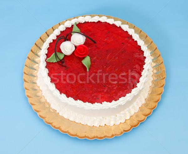 Zselé torta díszített marcipán rózsák kék Stock fotó © erierika
