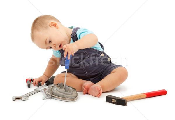 Spielen Werkzeuge wenig Junge arbeiten wirklich Stock foto © erierika