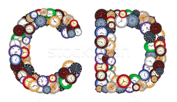 Characters C and D made of various clocks Stock photo © erierika