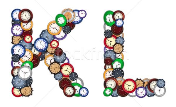 Foto stock: Relógios · projeto · fundo · metal