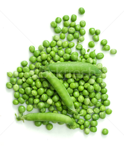 Verde ervilhas topo ver branco vegetal Foto stock © erierika