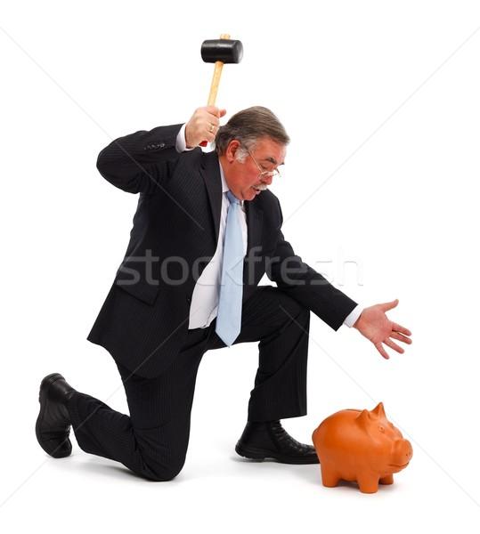 Zakenman spaarvarken ernstig hamer pauze zakenman Stockfoto © erierika