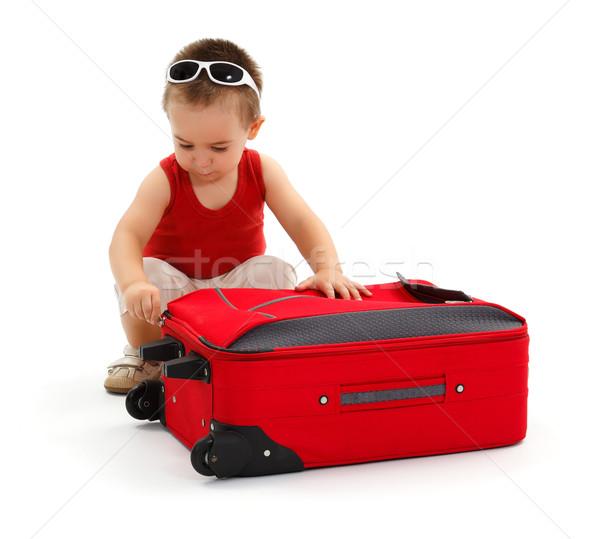 Stockfoto: Weinig · jongen · reis · koffer · zonnebril · vakantie