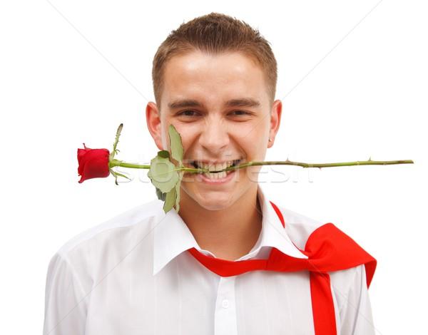 Stockfoto: Man · steeg · jonge · man · Rood · rose · mond