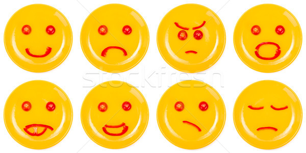 Collection of smiley faces made on plate Stock photo © erierika