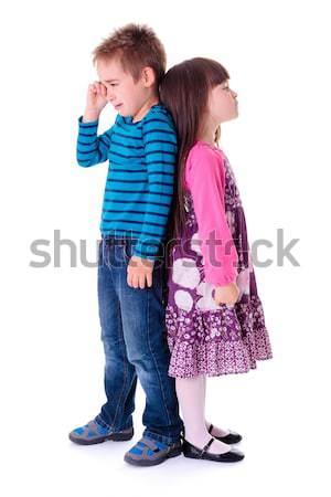 Boos mokkend kinderen vergadering vloer samen Stockfoto © erierika