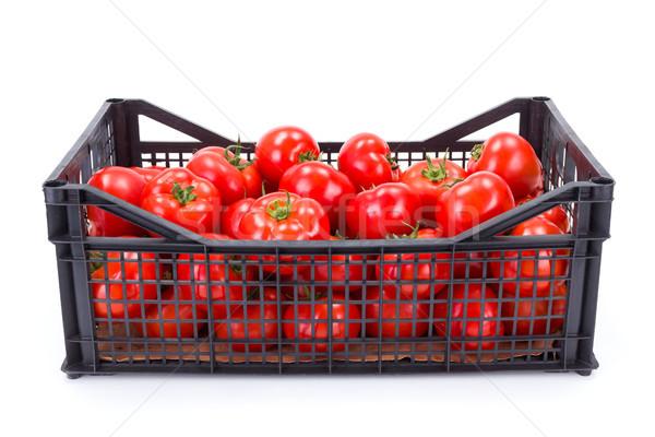 Pomidory plastikowe skrzynia świeże dojrzały żywności Zdjęcia stock © erierika