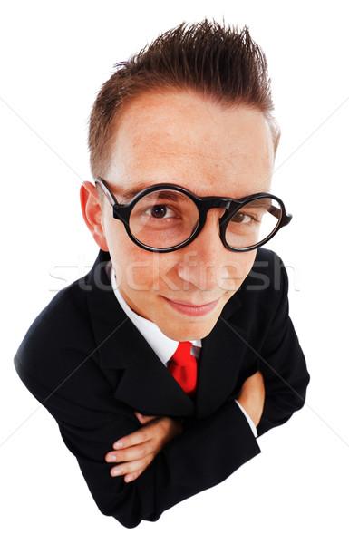 Felső kilátás üzletember széles látószögű büszke boldog Stock fotó © erierika