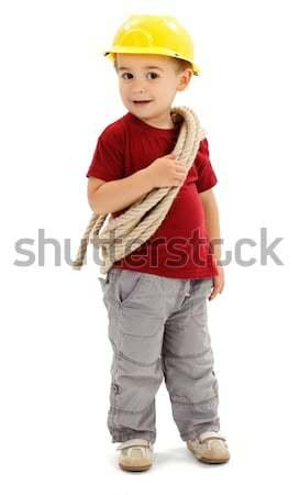 Little handyman with rope, wearing protective helmet Stock photo © erierika