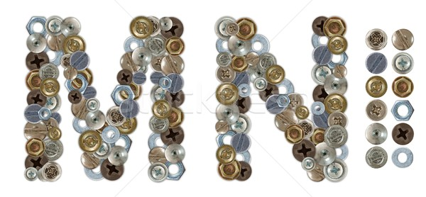 Characters M and N made of nuts and bolts head Stock photo © erierika