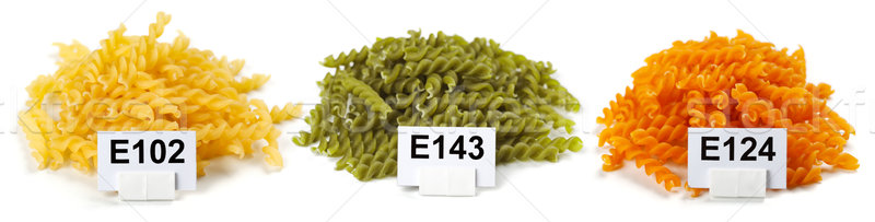 Bunches of artificially colored pasta Stock photo © erierika