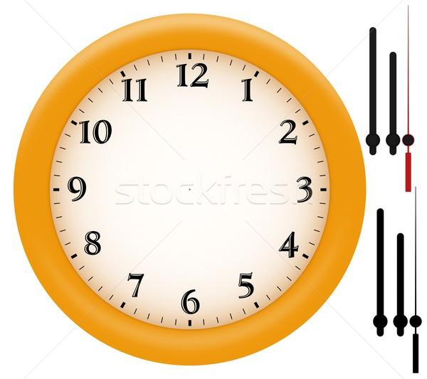 Simples relógio amarelo plástico quadro mãos Foto stock © erierika