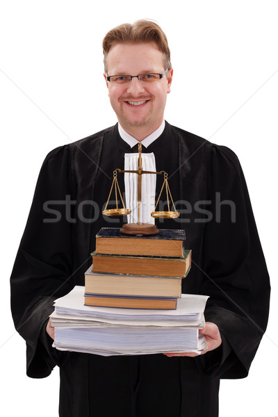 Happy judge holding justice scale and paperwork Stock photo © erierika