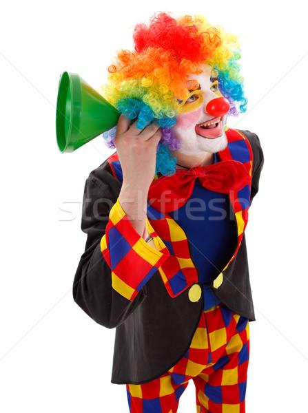 Clown zielone lejek uśmiechnięty słuchania wiadomości Zdjęcia stock © erierika