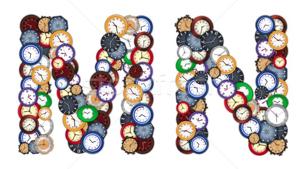 Characters M and N made of various clocks Stock photo © erierika