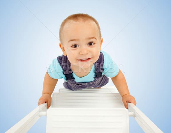Stock fotó: Kicsi · fiú · sétál · létra · boldog · felfelé