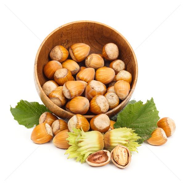 Friss mogyoró fából készült edény érett folyik Stock fotó © erierika